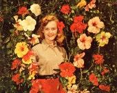Hibiscus Pinup Girl, Vintage Postcard (Chrome)