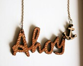 reserved listing - ahoy wooden pendant