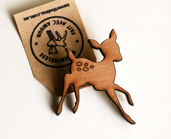 petite oh deer wooden brooch