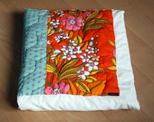 Patchwork Queen Duvet / Quilt Cover - Vintage Flowers and Turquoise Hexagons