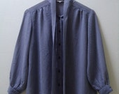 Vintage Women's Wear Houndstooth Blue White Pussy Bow Sheer L/S Blouse Shirt Sz. M/L