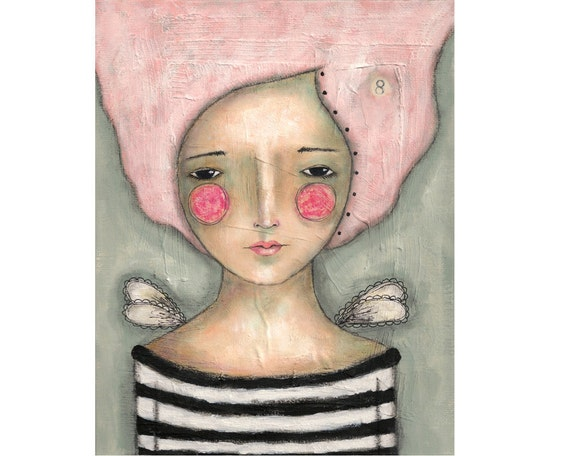 mixed media art girl whimsical original painting on 8x10 inch canvas board - Dreams can come true