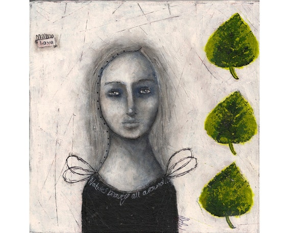 Original mixed media nature folk art whimsical girl and leaf painting - Mother Nature