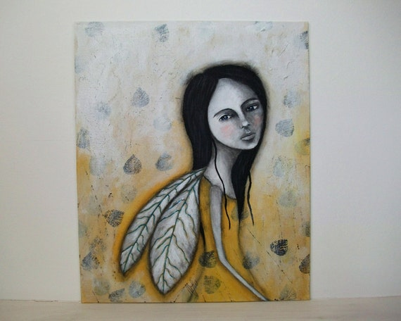 mixed media Folk art nature Original girl whimsical yellow painting 12x10 inch canvas board  - The Dreamer