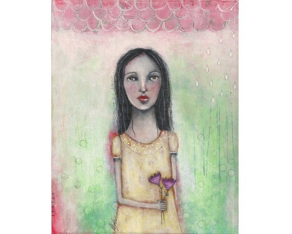 mixed media art girl whimsical original painting on 8x10 inch canvas board - Dare to dream