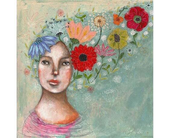 Original art mixed media flowers nature folk art whimsical girl painting 8x8 inch canvas board - Bloom