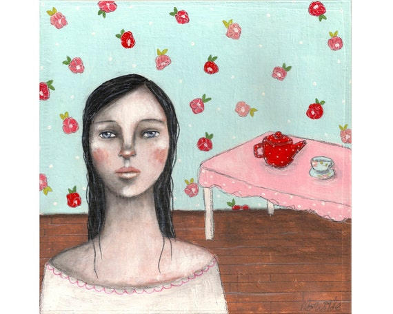 SALE folk art painting girl original painting whimsical art shabby painting chintz painting 8x8 inch canvas board - House Of Thoughts