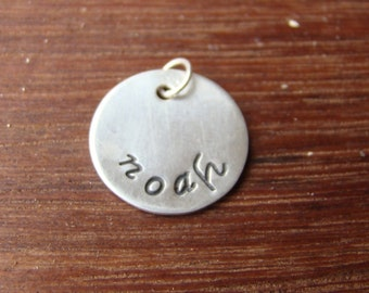 "5/8"" Custom Tags Sterling Silver discs charms hand stamped names dates"