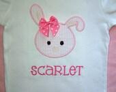 Pink Seersucker Bunny Shirt or Onesie