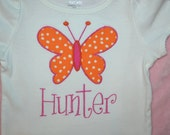 Girl's Orange and Hot Pink Butterfly T