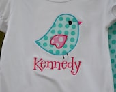 Turquoise and Pink Bird Shirt or Onesie