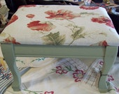 Refurbished Vintage Footstool foot stool Red Poppies Soft Green