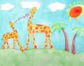ORIGINAL sunny baby Giraffe watercolor signed painting 9 x 12