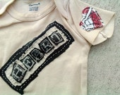 CLEARANCE - Heart on my Sleeve 3 month upcycled recycled OOAK baby onesie tea stain