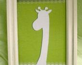 8.5 x 11 PRINT signed Jungle Giraffe silhouette lime green white scalloped edge