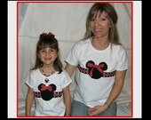 Custom Boutique Girls Disney Vacation Traditional Red and Black MINNIE MICKEY MOUSE  Applique Tank Top Shirt