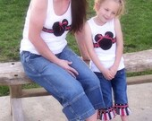 Custom Boutique Girls Toddler m2m Mommy and Me Minnie and Mickey Mouse Vacation Ribbon Skirt Capris or Jeans m2m