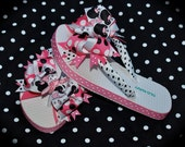 Custom Boutique toddlers Disney Vacation girls Pink Black Princess Wand MINNIE MICKEY MOUSE Birthday Party Ribbon Flip Flops m2m Free Ship