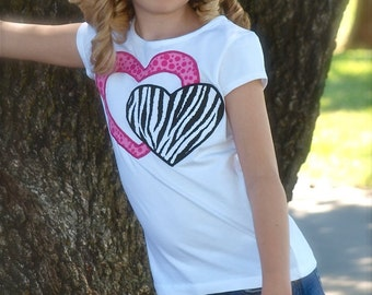 Custom Boutique Girls m2m Hot Pink Zebra Safari Appliqué Hearts Love Shirt Top