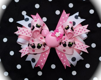 Custom Boutique Disney Vacation toddler girls MINNIE MOUSE Pink and Black Spring Summer Bling Hair Bow Clip Free Shipping