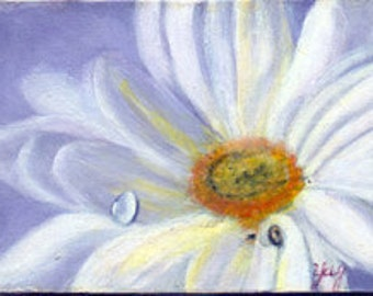 Aceo card, Dreamy Daisy, original painting