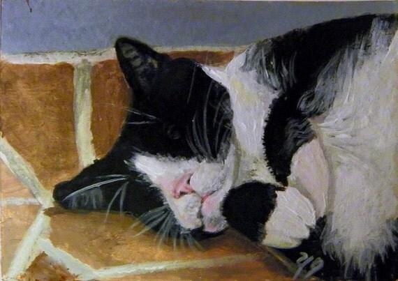 Sleep, Tuxedo Cat, Original art, Aceo by Yag