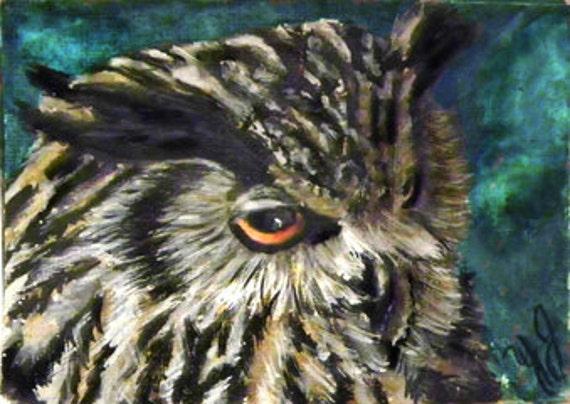Aceo Card, Eagle Owl,  Original painting