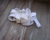 White color  fold over elastic 5 yds.