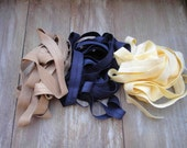 This listing is for 6 yards 2 of each color cream , blue ,yellow