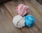 This listing is for 6 yards 2 of each color white pink  blue