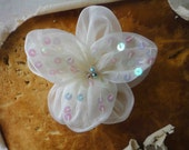 Holiday Sale 1.99 Dollars items Very cute ivory color  flower made from organza with rhinestones  1  pieces listing