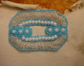 Cute white and blue     color  beaded   applique