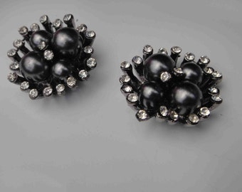 Cute piece of dark gray color buckle with pearls and rhinestones 2 pieces listing