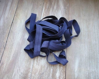 Fold over elastic 5 yards  dark  blue  color
