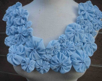 Cute big  piece of blue   color  chiffon  flower  applique 1 piece listing