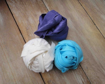 This listing is for 6 yards 2 of each color white, dark  purple ,blue