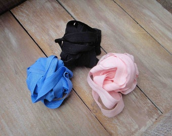 This listing is for 6 yards 2 of each color pink , black ,blue