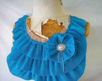 Fashion piece of ruffled  applique blue   color 1 pieces listing