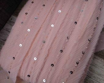 Cute beaded  chiffon   trim peach  color  2 yards listing 1.5 inch wide