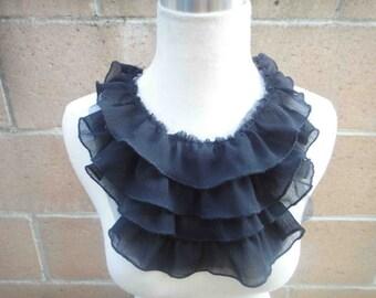 Fashion piece of ruffled chiffon  applique yoke  black color 1 pieces listing