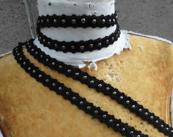 Cute black  color embroidered trim with studs black color 1  yard listing