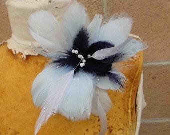 Feather flower  applique  baby blue color 1 pieces listing