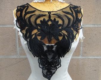 Black color embroidered applique