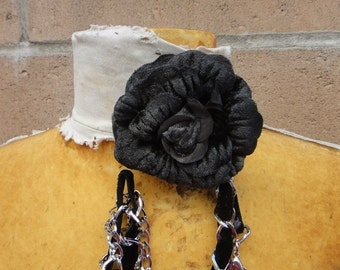 Cute  velvet    flower  black   color  with back pin  and chain  1 piece listing