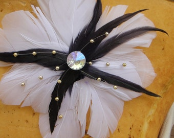 Feather  flower applique white  color