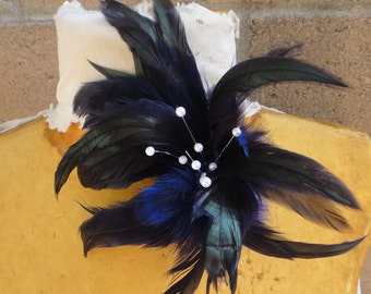 Cute   feather flower with pearls     1 pieces listing