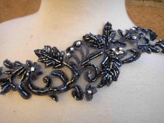 Nice gray beaded applique 1 piece listing