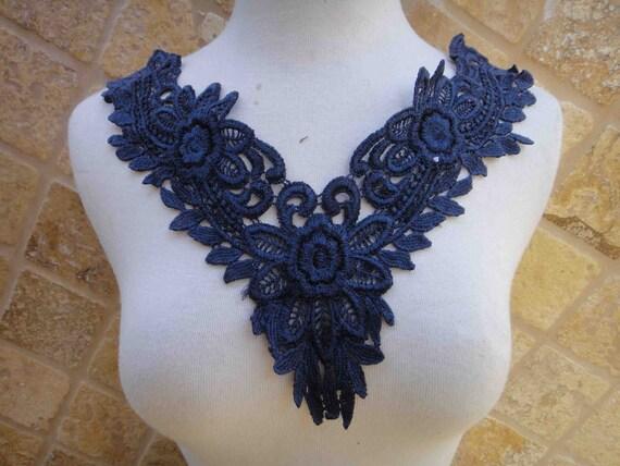 Cute  venice applique yoke dark blue   color 1  pieces listing