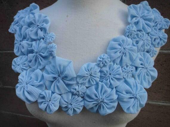 Cute big  piece of blue   color  chiffon  flower  applique 1 piece listing