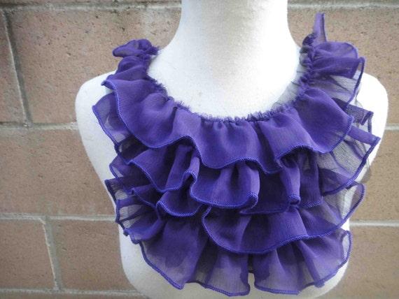 Fashion piece of ruffled chiffon  applique yoke  purple   color 1 pieces listing